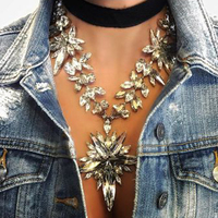 Dvacaman Fashion Luxury Jewelry Women Necklace Pendant Crystal Collar Choker Boho Collier Femme Maxi Statement Accessory