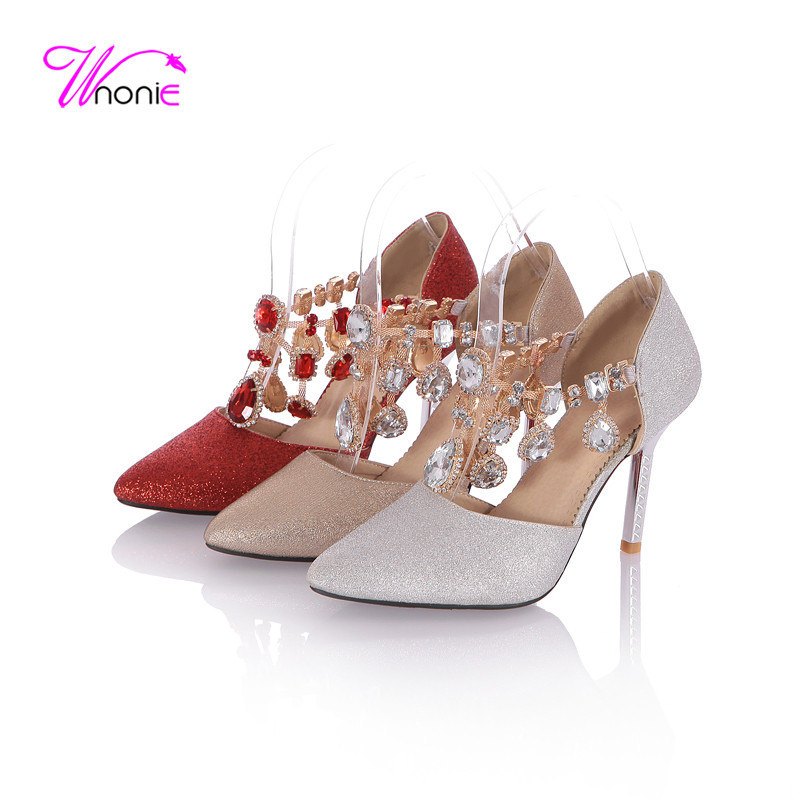 2017 New Fashion Women Sandals Ankle Strap Rhinestone Crystal String High Gilt Heel Pointed-toe Party Sexy Summer Woman Shoes wholesale lttl new spring summer high heels shoes stiletto heel flock pointed toe sandals fashion ankle straps women party shoes