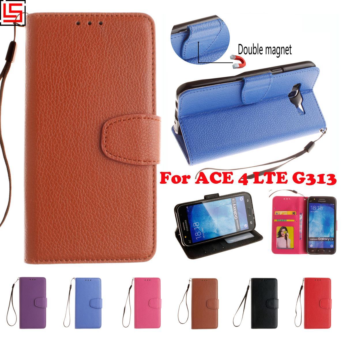 c873fb990b9a Luxury Best New PU Leather Flip Wallet Phone Case cubierta caso fundas  Cover Bag For Samsung Galaxy ACE 4 ACE4 LTE G 313 Red