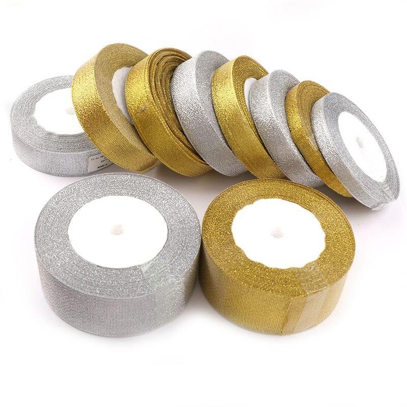 Holesale ручной работы золото и серебро лента 25 ярд 22 м металлический блеск Свадебные Рождество украшения DIY тесьма карты подарочная упаковка