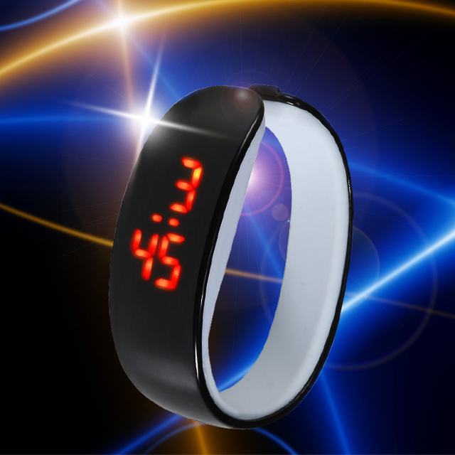 Fashion Sports Dolphin Silicone Strap Bracelet Watch Red LED Digital Men Women 1
