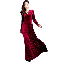 Fashion Long Dress Plus Size S~3XL Women Winter Dresses Long Sleeve V Neck Maxi Dress Velvet Women Sexy Party Dresses RE0257