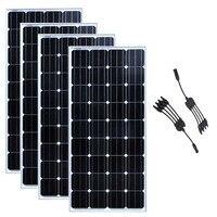 방수 태양 전지 패널 12v 150w 4 Pcs 태양 전지 충전기 태양 홈 시스템 600w 와트 4 1 커넥터 Motorhome 캐러밴 보트