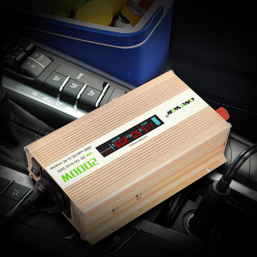 Onever 2000 w רכב מהפך ממיר השתנה גל סינוס חשמל רכב מהפך ממיר DC 12 v ל-ac 220 v עם LCD תצוגה דיגיטלית