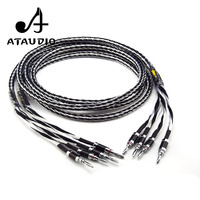 ATAUDIO Hifi Speaker Cable High Quality Copper and silver shuffling Speaker Wire with Carbon Fiber Banana Jack