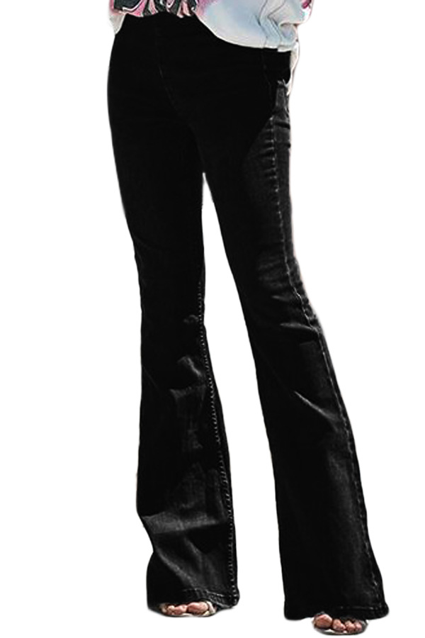 High Waist Jeans Mom Flare Jeans For Women Bell Bottom Vintage Denim Skinny Jeans Woman Plus Size Black Female Wide Leg Pants 1