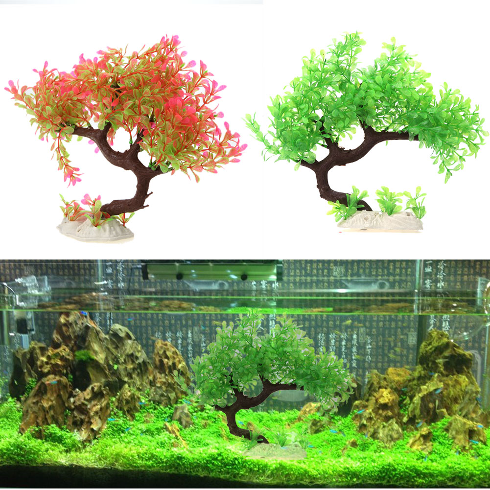 Aquarium fish tank cyprus - Higher Quality Artificial Plants Plastic Grass Resin Aquarium Fish Tank Decor Ornament For Fish Green Pink