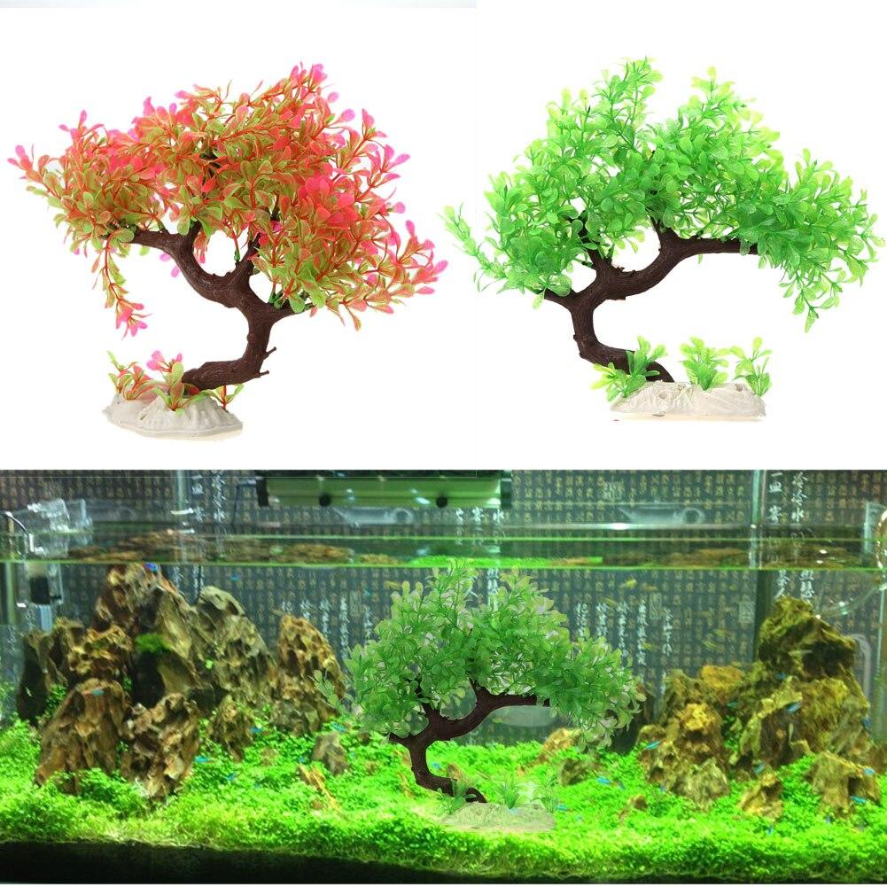 Artificial aquarium fish tank - Higher Quality Artificial Plants Plastic Grass Resin Aquarium Fish Tank Decor Ornament For Fish Green Pink