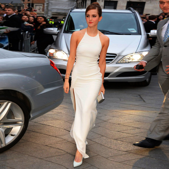 2015 Emma Watson Noah Red Carpet Dresses Halter Off Shoulder Sheath Chiffon Evening Celebrity Dresses