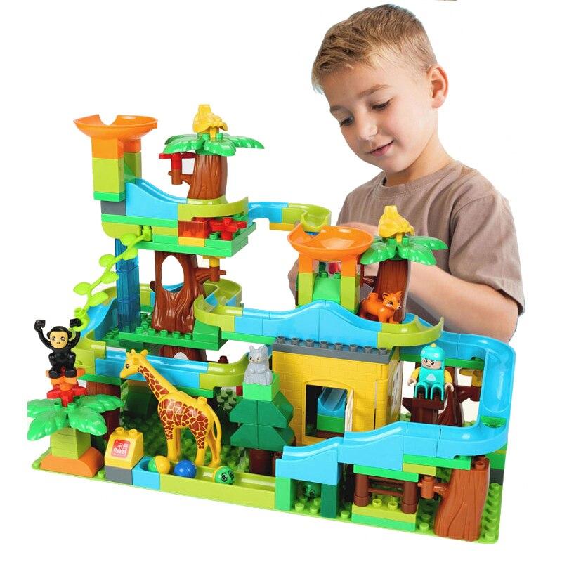 200 pièces thème de la forêt briques éducatives jouet pour enfants course course labyrinthe balles piste blocs de construction Compatible entonnoir blocs de diapositives