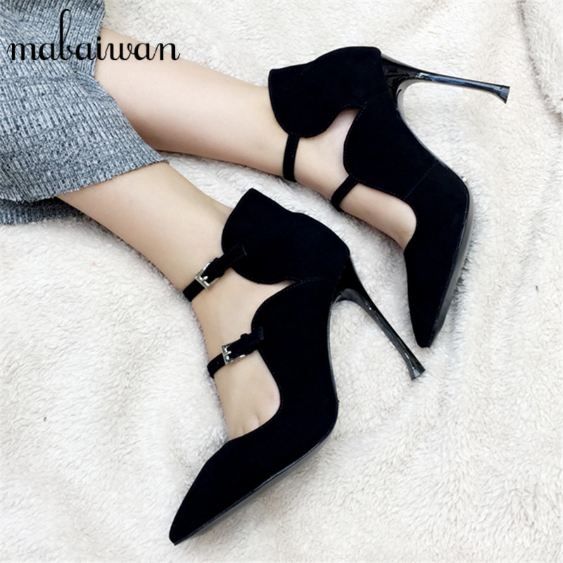 ФОТО Fashion Black Suede Pointed Toe Women Pumps Straps 9CM Thin High Heels Wedding Dress Shoes Woman Zapatos Mujer Valentine Shoe