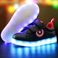 7 Colors Kids Sneakers 2017 New Brand USB Charging LED Luminous Lighted Sneakers Boy Girls Colorful