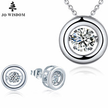 JO WISDOM 925 Sterling Silver Round Jewelry Sets Dancing Natural Topaz Pendant Necklaces Stud Earrings Cute Pure Silver Jewelry