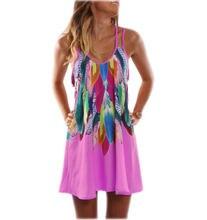 Женское платье на бретельках с цветочным принтом весна лето