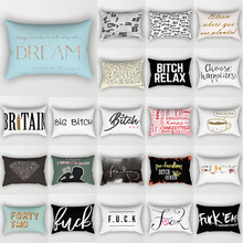 Fashion English letters pillow cases rectangle  travel animal pattern two sides printing covers 50*30cm