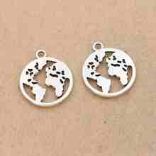 10pcs Tibetan Silver Plated World Map Charms Pendants for Jewelry Diy Jewelry Making Earrings Craft 20mm(China)