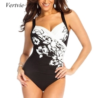 Vertvie 2017 New Women One Pieces Swimsuits White Design Floral Printed Sexy Halter Backless Swimwear Bikini