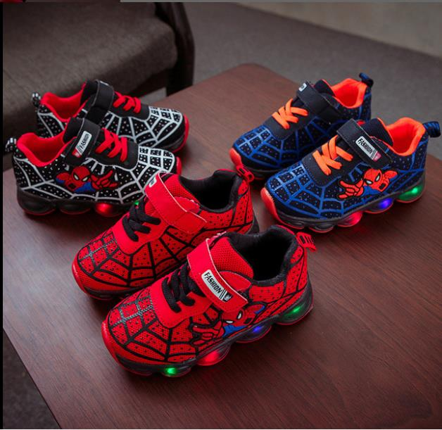 Fashion LED lighted Children Shoes Cute Cool Spiderman Casual Kids Sneakers Infant Tennis Baby Girls Boys Shoes Footwear