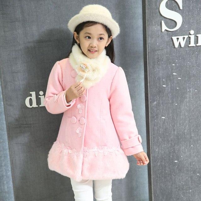 Детские Куртки детские пальто девушки слишком большой пальто 2015 новый зимний большой девственный ребенок меховой воротник пальто его