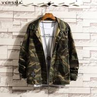 VERSMA New Spring Army Military Camouflage Denim Jackets Coats Men Chemise Black Long Sleeve Denim Shirt Jeans Men Plus Size 5XL