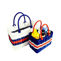 Plastic Woven Shopping Basket Home Vegetable Bathing Bathroom Storage Basket Forable Spell Colorful Laundry Hamper
