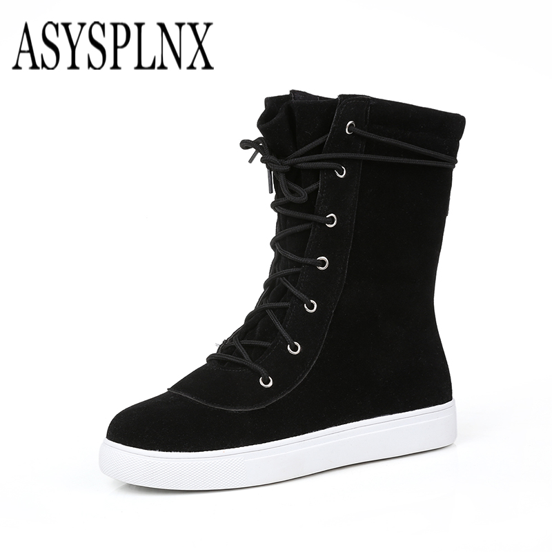 ASYSPLNX brand 2017 winter round toe platform flats women shoes black brown snow boots for women warm plush lace up shoes C-086 rizabina size34 43 women half knee high boots vintage flats heels lace up warm winter fur shoes round toe platform snow boots