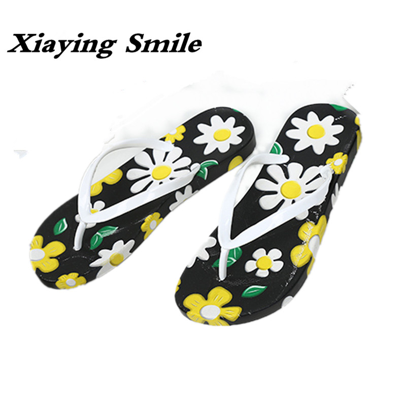 Xiaying Smile Summer New Women Slippers Sandals Fashion Casual Creeper Slides Women Flats Thick Sole Flip Flops Women Shoes yierfa fashion cork slipper sandals 2017 new summer women patchwork beach slides double buckle flip flops shoe white purple red
