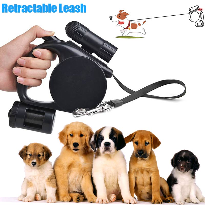 Hot Sale Retractable Pet Dog Leash 3 in 1 Flashlight Garbage Bag Dispenser for Small Medium Dogs 8