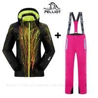 Women Ski Suits Jackets+Pants Warm Winter Waterproof Skiing Snowboarding Clothing Set ski jacket and pant Pelliot Free Shipping