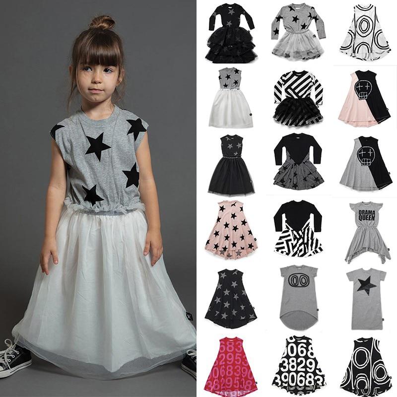 Nununu Kids Dresses for Girls Tutu Dress 2019 Summer Cotton Children Dress Princess Modis Pattern Baby Girl Clothes 1-9Years