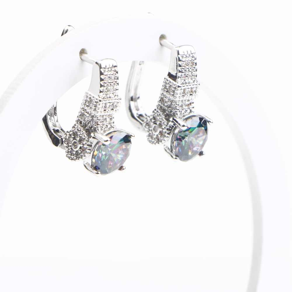 Natural Rainbow 925 Sterling Silver Jewelry Sets Zircon Wedding Earrings For Women Stones Bracelet Necklace Rings Set Gifts Box