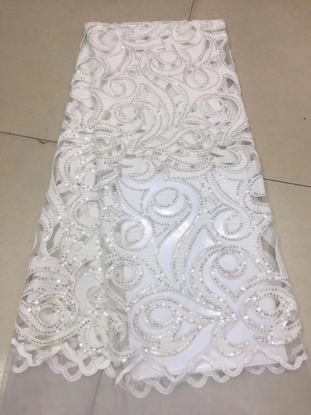 White Color French velvet Lace Fabric 2018 High Quality African Voile Flannel Lace Fraric With Sequins