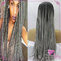 Black To Grey Ombre Kinky Twist Braiding Hair Grey Twist Braided Synthetic Lace front Wigs For Black Women Braided Wig