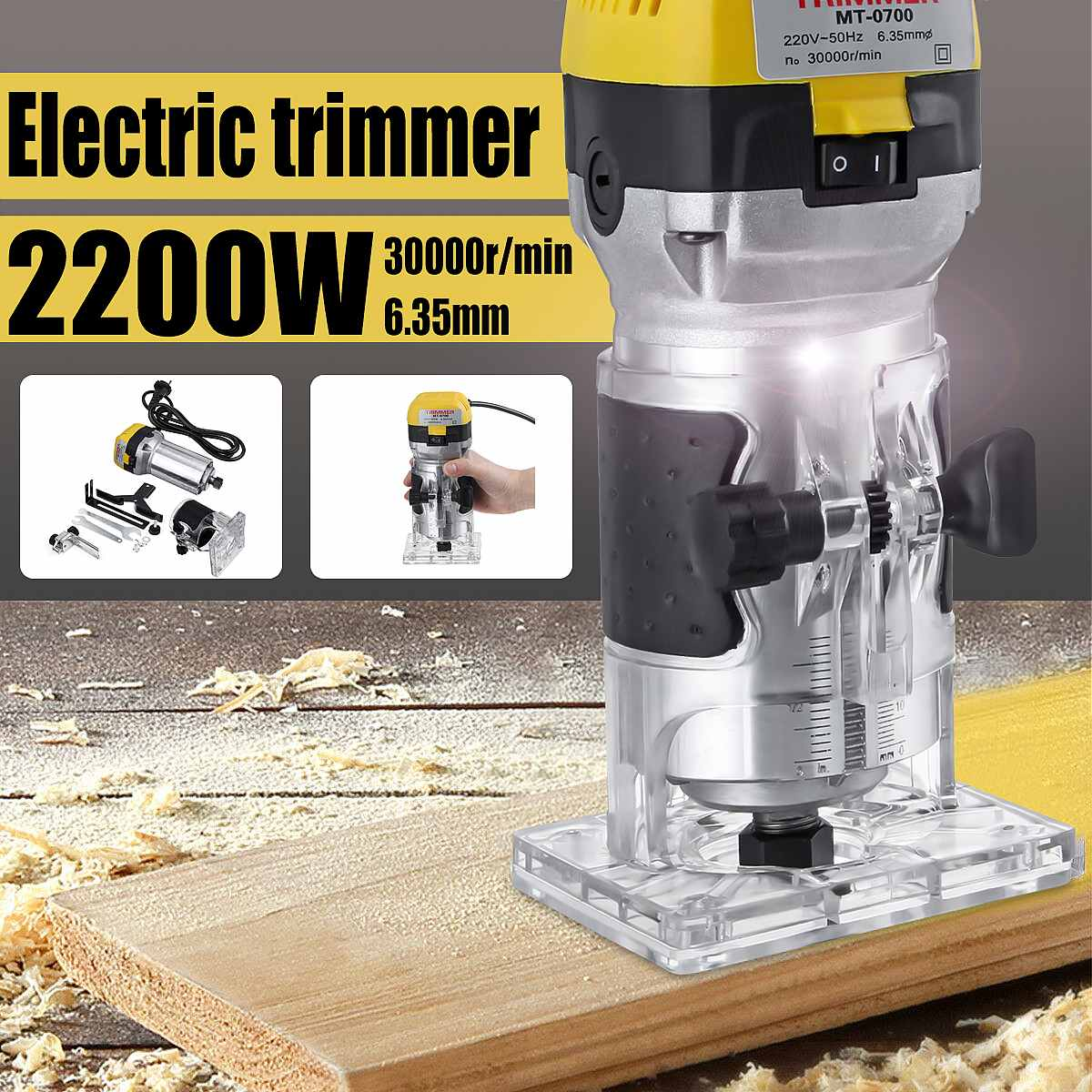 2200W 220V Electric Hand Trimmer Wood Router 6.35mm Woodworking Laminator Carpentry Trimming Cutting Carving Machine Power Tool
