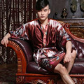 Hot Sale Chinese Men Silk Robe Traditional Printed Nightwear Novelty Kaftan Kimono Bath Gown Unisex Pajama Plus Size 0001