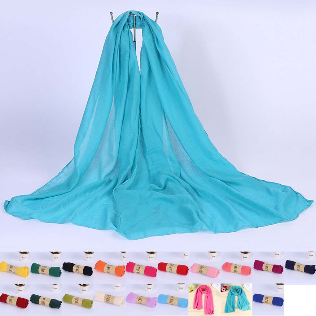 Autumn Winter Women Cotton and linen pure color scarves shawl wrap scarves Long Shawls Scarf