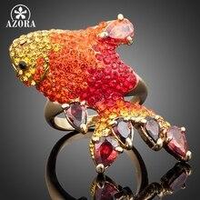 Chapado En Oro Multicolor AZORA Stellux de Cristal Austriaco Anillo de La Carpa Roja para el Día de San Valentín TR0025