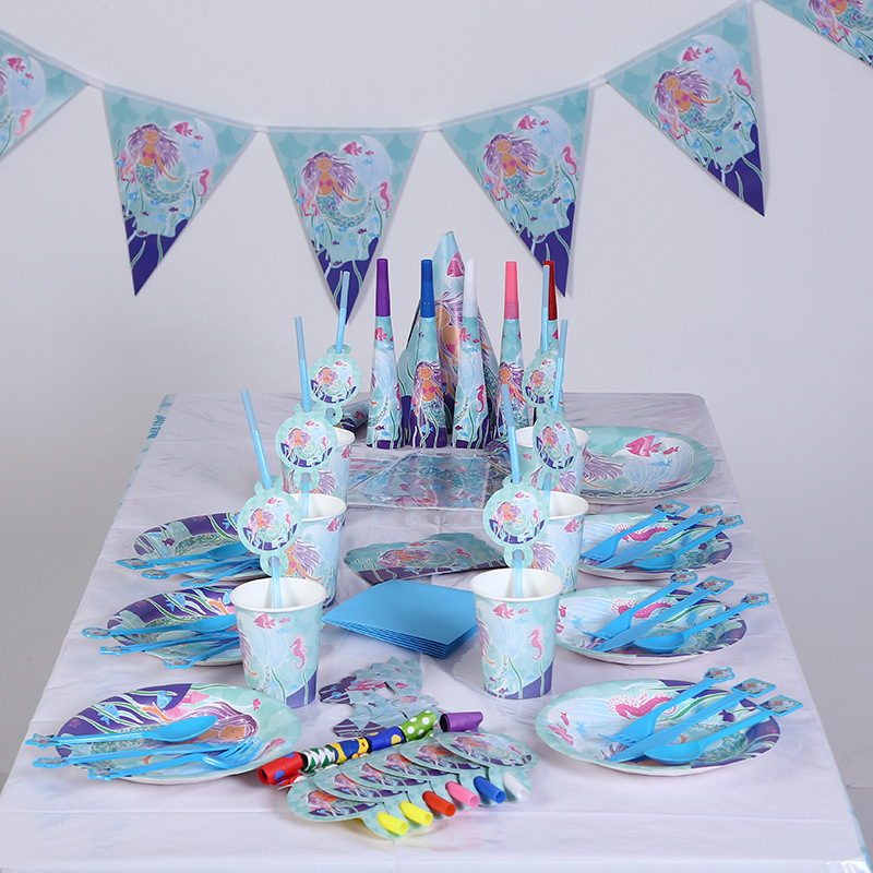 141pcs lot of New little mermaid theme party suit for children birthday party party supplies of