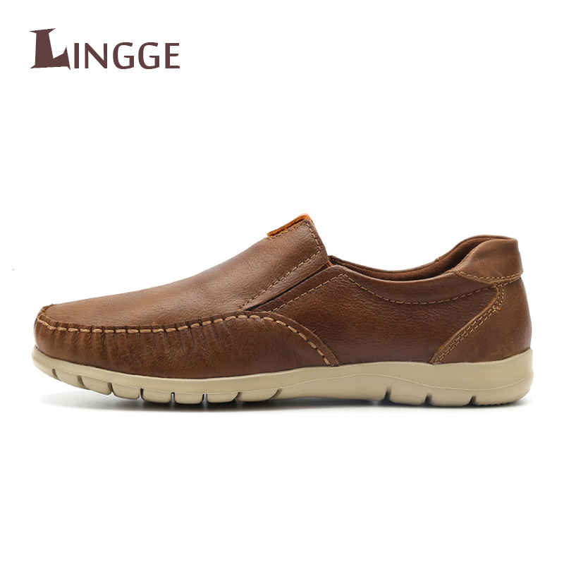 New Genuine Leather Shoes Men Brand Footwear Slip-on Fashion Men Casual Shoes Male High Quality Cowhide Loafers Mocassin Homme
