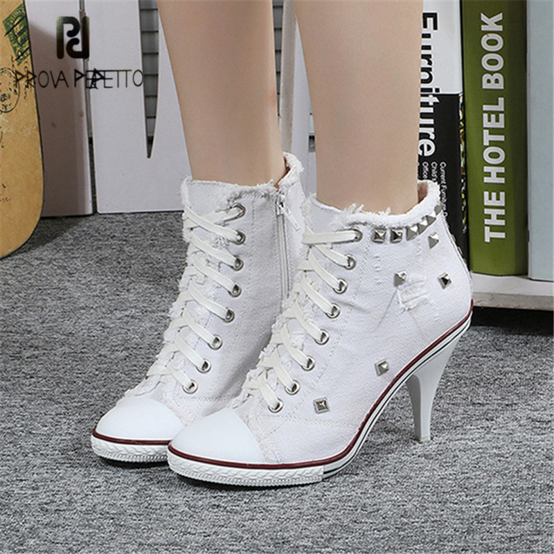 Prova Perfetto White Women Denim Boots Lace Up High Heel Ankle Boot Female Rivets Studded Platform Short Booties Women Pumps cicime summer fashion solid rivets lace up knee high boot high heel women boots black casual woman boot high heel women boots