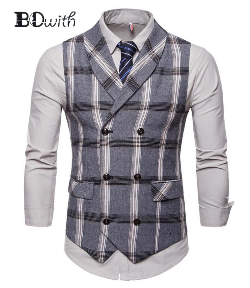 Sleeveless Slim Fit Suit Vest Men Vest Men'sDouble Breasted Six Buttons Business Dating Wedding Dress Waistcoat