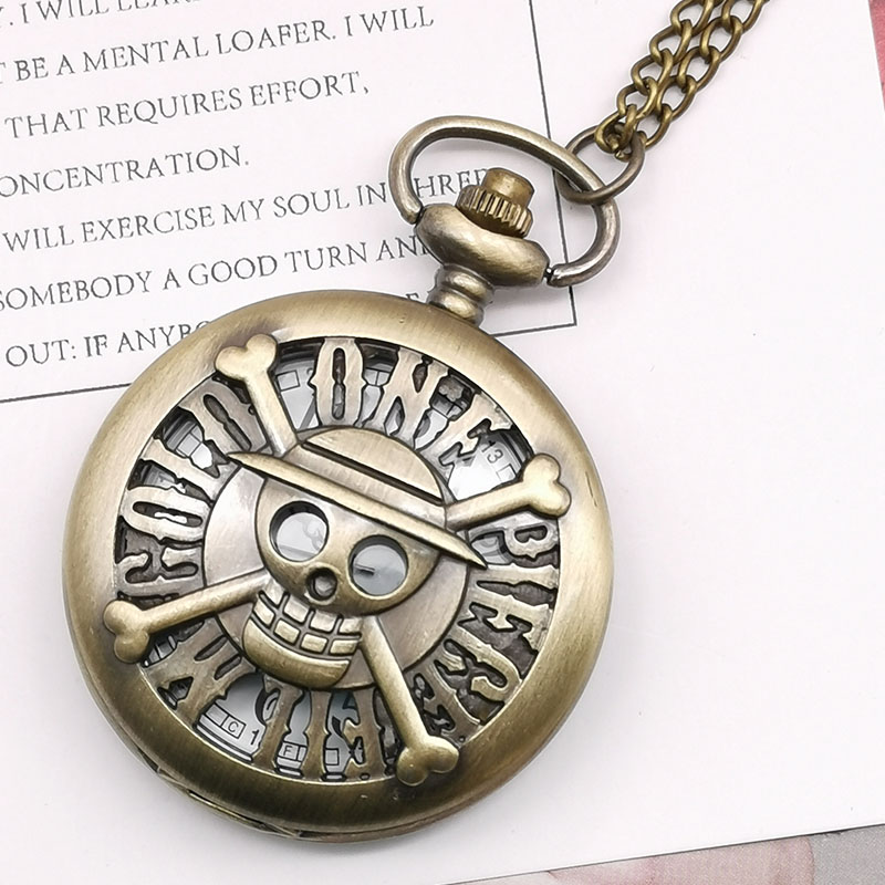 New Arrival Bronze Steampunk Skull ONE PIECE Quartz Pocket Watch Cartoon Anime Watch Pocket Watch Fob Watch For Unisex