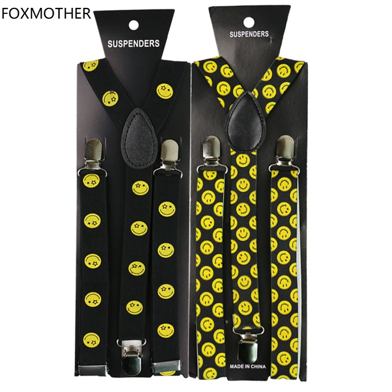 FOXMOTHER 1inch Wide Smile Face Expression Print Suspenders Women Braces Adult Suspensorio Fashion