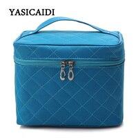Fashion Diamond Lattice Women Cosmetic Bags Famous Brand Handbgas Women Cosmetic Box High Quality PU Leather