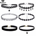 4-6 Pcs/Set Collares Trendy Stretch Tattoo Choker Velvet Necklace Punk Retro Gothic Elastic Necklaces for Women Choker Necklace