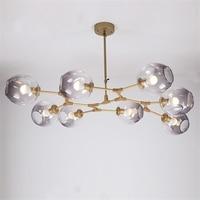 BLUBBLE Lindsey Adelman Glass Chandelier 3/5/6/7/8/9 Heads Clear Branch Molecular Bubble Ball Art Deco Bedroom Droplight