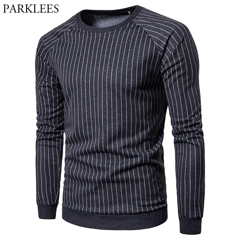 Classic Striped Sweatshirt Men 2018 Brand New Rib Sleeve Design Mens Sweatshirts Sportswear Casual Hip Hop Hipster Sweat Homme