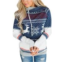 LOHILL Snow Deer Printing Polka Dot Hoodies Sweatshirt With Pocket Lace Up Hooded Fleece Shirt Top