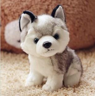 Free Shipping 2015 Kawaii 16 cm 18 cm Simulation Husky Dog Plush Toy Gift For Kids baby toy birthday present Stuffed Plush Toy