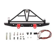 AX-20002 Metal Rear Bumper with Spare Tire Carrier Taillights for 1/10 AXIAL SCX10 RC Rock Crawler(China)